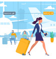 travellers at airport departure area vector image vector image