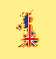 united kingdom - map colored with british flag vector image vector image