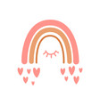 valentines day rainbow cute pink rainbow with vector image vector image
