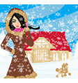 walk the dog on a snowy day vector image vector image
