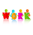 Work Title with Colorful Paper Cut People vector image