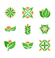 set of green logos template creative natural and vector image
