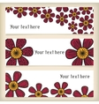 Banners with doodling flowers in tattoo style vector image