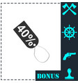 40 percent discount icon flat vector image vector image