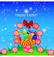 a postcard in the Easter basket of eggs flower vector image vector image