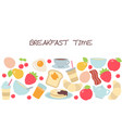 background with breakfast food and beverages vector image vector image