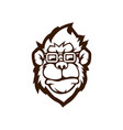 black and white version a monkey design vector image vector image
