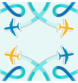Card with four planes and colored trace of them vector image vector image
