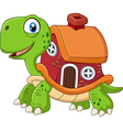 Cartoon funny turtle with shell house vector image vector image