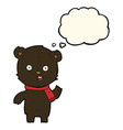 cartoon waving black bear cub with scarf with vector image vector image