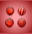 christmas balls with red ribbon and bows vector image vector image