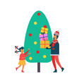 christmas time tree and people with present vector image vector image