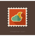 Cloud Moon flat stamp Meteorology Weather vector image