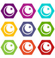 crescent and star icon set color hexahedron vector image vector image