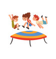 cute boys and girl jumping on trampoline happy vector image vector image