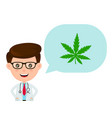 cute funny smiling doctor with marijuana vector image vector image