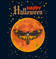 death head hawkmoth on full moon background vector image