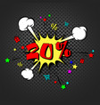 discount 20 percent pop art retro style vector image vector image
