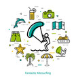 fantastic kitesurfing - round line concept vector image vector image