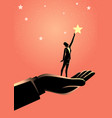 giant hand helping a business woman to reach out vector image vector image