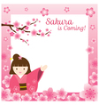 Girl in Kimono with Cherry Blossoms Frame vector image