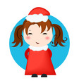greeting card christmas card with christmas girl vector image vector image