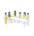 group of people with yellow clothes in the table vector image