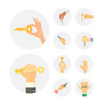 hands holding key apartment selling human gesture vector image vector image