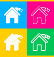home silhouette with tag four styles icon on vector image