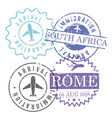 immigration and arrival travel circular stamps of vector image vector image
