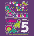 invitation dinosaurs girl party birthday vector image vector image