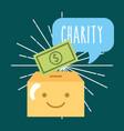 kawaii box banknote money cartoon donate charity vector image vector image