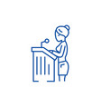 lawyer womanspeech in court line icon concept vector image vector image