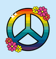 nice hippie emblem with flowers design vector image vector image
