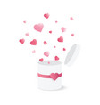 open gift box with heart confetti burst vector image