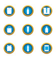 paper bag icons set flat style vector image vector image