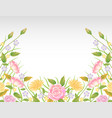 pink and yellow rose flowers decoration vector image vector image