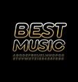 premium emblem best music with golden font vector image