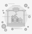 prints a house concept 3d modeling vector image