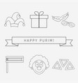 purim holiday flat design black thin line icons vector image vector image