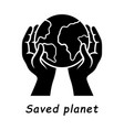 saved planet glyph icon vector image