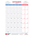 september 2019 calendar planner stationery design vector image