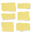 set of yellow paper different shapes tears vector image vector image