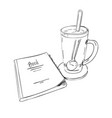 sketch books and cups with a spoon vector image vector image