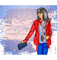 Sketch of a Lady Sightseeing vector image vector image