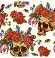Skull and Flowers Day of The Dead Seamless Pattern vector image vector image