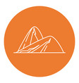 sloping hills icon in thin line style vector image