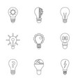 smart bulb icons set outline style vector image vector image