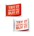 Try it before you buy it label vector image vector image