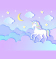 unicorn cloudsmoon and stars vector image